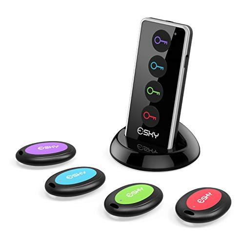 Key Finder, Esky Wireless RF Item Locator Item Tracker Support Remote Control,1 RF Transmitter and 4 Receivers - Wireless Key RF Locator, Pet Tracker Wallet Tracker