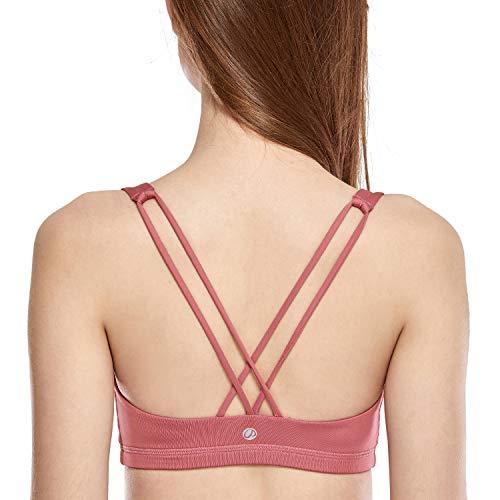 CRZ YOGA - Sujetador Deportivo Yoga Cruzados Espalda Sin Aros para Mujer Rosa Cereza XS
