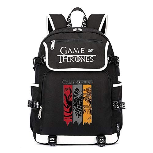 AUGYUESS - Mochila luminosa de Juego de Tronos para la escuela, bolsa de viaje, bolsa de hombro, con puerto de carga USB