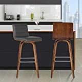 Armen Living Vienna 30' Bar Height Barstool in Grey Faux Leather and Walnut Wood Finish