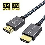 Câble HDMI 4K, iVANKY Câble HDMI 2m, 4K@60Hz 2K@144Hz 1080P, HDMI Plaqué Or...
