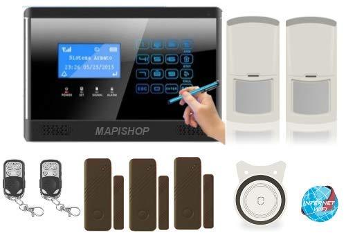 Mapishop CLARENCE Antifurto Allarme Casa Kit nuovo modello 2020, Con INTERNET wifi, Combinatore GSM app Gratuita ios/android, COMPLETAMENTE CONFIGURATO (CLAR slim s/m)