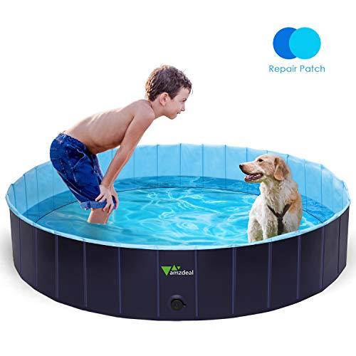 amzdeal Hundepool Schwimmbad - Faltbares Doggy Pool, 100{bbf76129f9ff611ade1b0ac616bae02e35d608b5fc31bdbaf5bb8849baa1111c} Umweltfreundliche PVC, Rutschfest Schwimmbad für Hunde und Katzen, Hunde Planschbecken für Indoor und Outdoor geeignet, 160 × 30 cm