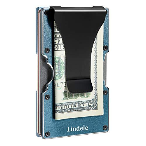 Lindenle Womens Minimalist Slim Wallet RFID Blocking Aluminum Card Holder Money Clip (Dark Green Gray)
