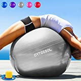 Arteesol - Pelota de ejercicio 45 cm, 55 cm, 65 cm, 75 cm, antideslizante, antiestallido, pelota suiza para yoga, gimnasio, fitness, pilates, ejercicio físico, fisioterapia., color plata, tamaño 55 cm