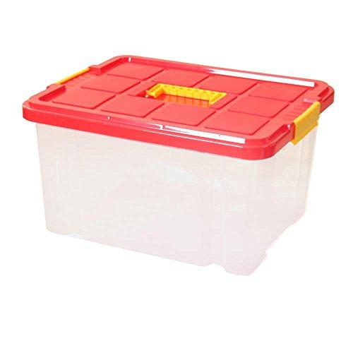 2 Stück AXENTIA Unibox mit Deckel mittiger Griff Stapelbox Universalbox Aufbewahrungskiste Spielzeugbox 44 x 35 x 24 cm 27 Liter