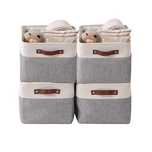 DECOMOMO Foldable Storage Bin Collapsible Sturdy Cationic Fabric Storage Basket Cube W/Handles for Organizing Shelf...