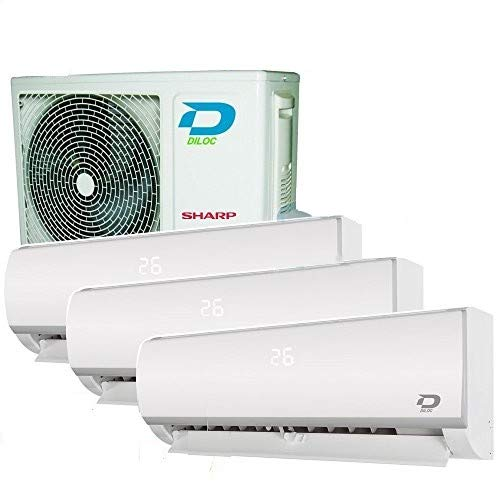 CLIMATISEUR WIFI 3 MULTI SPLIT DILOC 3,2+3,2+3,2Kw compresseur SHARP INVERTER