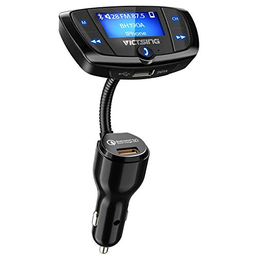 VicTsing (Upgraded Version) Bluetooth FM Transmitter, Wireles Audio Adapter Hands-Free Car Kit with 1.7 Inch Display, QC3.0 and Power On/Off Switch, Dual USB Ports, U Disk, TF Card MP3 Player