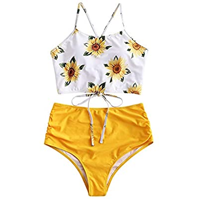 Material: Nylon,Polyester,Spandex,cheeky and elastic fabric Padded bras,criss-cross lace up at back,ruched high waisted bottoms hide the belly,shows your body shape Covered in a tropical-toned sunflower/pineapple/orange pattern Women two piece swimsu...