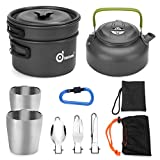 Odoland Multi-PCS Mini Kit de Casseroles Camping, Cookware Kit en Alliage d'Alu, Légère, Durable...