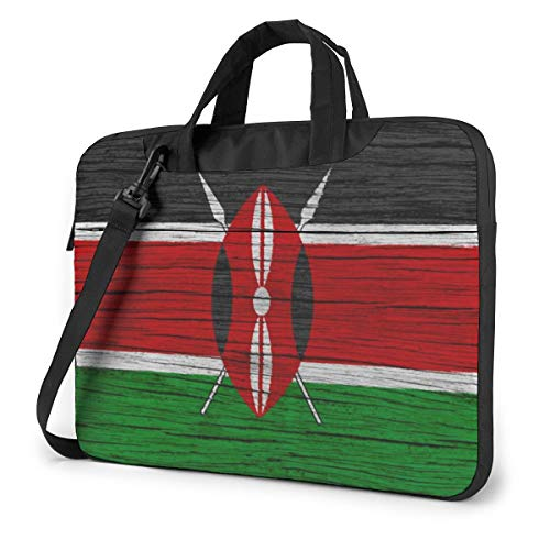 Kenya Wooden Texture Kenyan Flag Laptop Case Sleeve Shoulder Bag for 13-15.6 inch