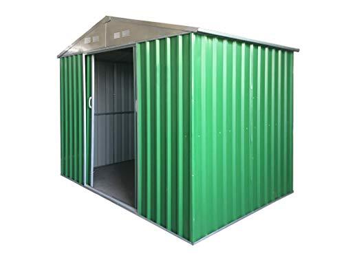 Eurobrico Casetta Garage da Giardino Porta Utensili Box in LAMIERA ZINCATA 0,27 mm Verniciata di Verde con Porte scorrevoli (S L187 x P131 x H194)