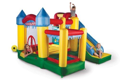 Avyna Hüpfburg Fun Palace 6in1 mit großer Rutsche, Kletterwand, Ball-Pool und Basketballkorb (für bis zu 4 Kinder)