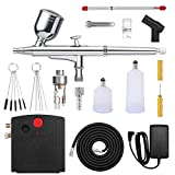 Airbrush Kit with Auto On/Off Air Compressor and 0.3mm Gravity Feed Airbrush Kit with Replaceable 0.4mm Nozzle Cap Needle 6cc 20cc 40cc Cups for Makeup,Model Making,Cake Decoration