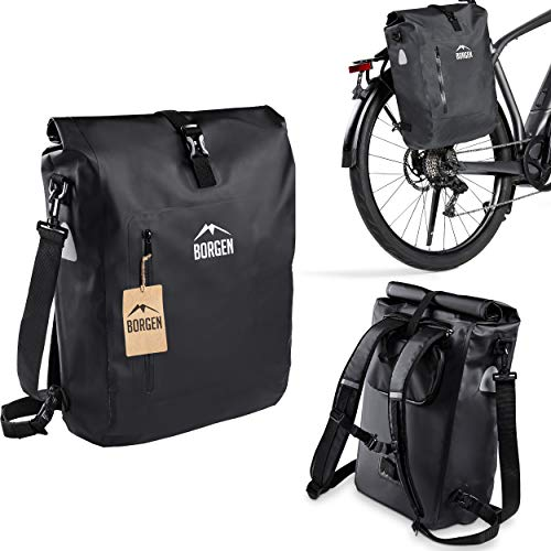 Borgen Fahrradtasche für Gepäckträger 3in1 Fahrrad Rucksack I Gepäckträgertasche I Umhängetasche - 25L Kombi Fahrrad Tasche - 100{363a3f6d080f87e7027d5abc27bccc65448f57e077936d26cce48a36164caa6a} wasserdicht und reflektierend mit herausnehmbarer Laptoptasche