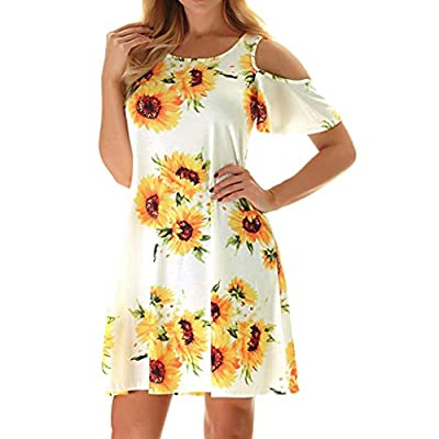 👗Feature —— Cold Shoulder/ Summer Dress/ SunDresses / T-shirt Dresses/ Above Knee Length/ Flowy and Swing Tunic/ Floral Print Dress/ Round Neck Short Sleeves/ Casual Dresses. 👗Design —— The sunflower dress color is vibrant and beautiful and it hide t...