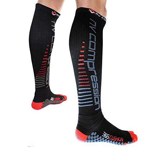NV Compression 365 Cushion Calze a Compressione - Nero - Cushioned Compression Socks (Pair)...