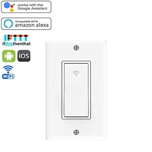 RtTech Smart Switch, Interruptor inteligente de luz WiFi, mando a distancia inalámbrico, Interruptor inteligente compatible con Amazon Alexa, Google Home y IFTTT, control remoto todos tus luces desde tu teléfono o tableta, cable neutro necesario, protección de sobrecarga, 15A, No requiere hub, Blanco (1)