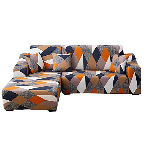 laamei Copridivano con Penisola Elasticizzato Chaise Longue antimacchia Sofa Cover componibile in Poliestere a Forma di L
