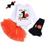 Baby Girl My 1st Halloween Outfits Long Sleeve Pumpkin Romper+Tutu Skirt+Headbands 4PCS Clothes Set (Orange, 9-12 Months)