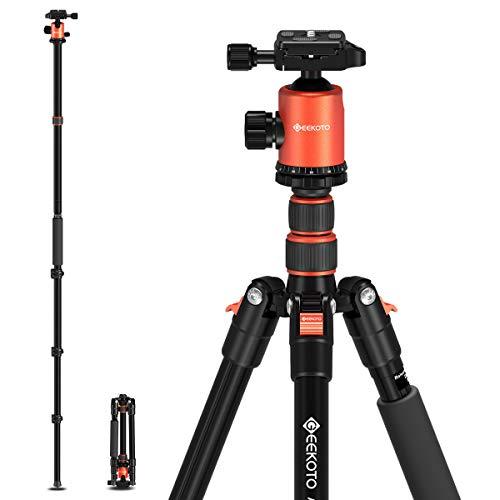 GEEKOTO 77'' Tripod, Camera Tripod for DSLR, Compact Aluminum...
