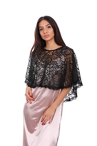 Coprispalle in pizzo nero da donna per abito formale, top da donna elegante con scollo posteriore originale ed elegante bordo ondulato, scialle da donna elegante, coprispalle da sposa