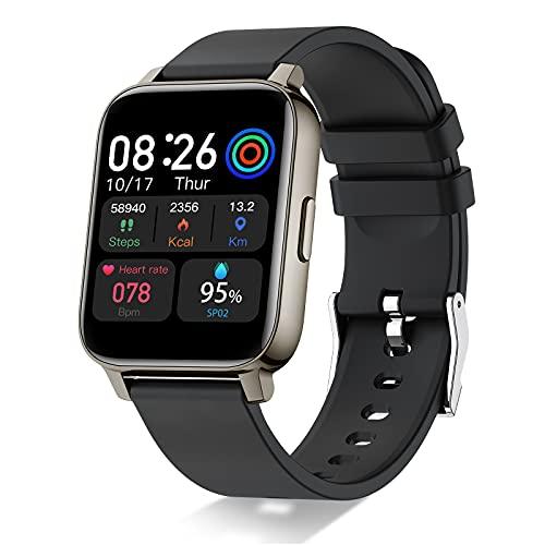 Montre Connectée, 1,69' Montre Intelligente Femmes Hommes avec Cardiofrequencemètre Smartwatch Etanche IP68 Montre Sport GPS Cardio Fitness Tracker Podometre Calories Chronometre Montre Tactile Noir