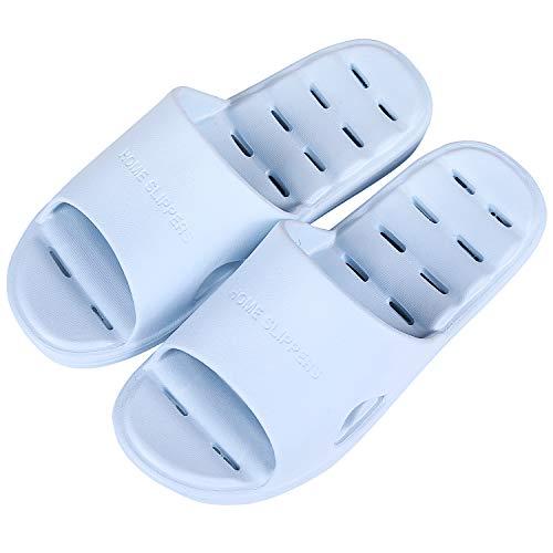 shevalues Women's Shower Pool Sandal Soft Ultra Lightweight Quick Dry Bath Slippers Light Blue L