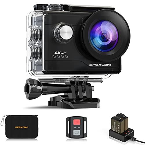 Apexcam Caméra Sport 4K 20MP Action Camera WiFi Caméra Étanche 40M Ultra HD Caméra d'action 170 ° Grand-Angle avec 2.4G Télécommande et 2 Batteries Rechargeables et Kit d'accessoires