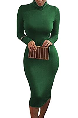 Long sleeve bodycon sheath dress Turtleneck midi dress Soft, strethcy, slim-fitted Occasion: party, club, date night, evening Full body shaper to show your every curve