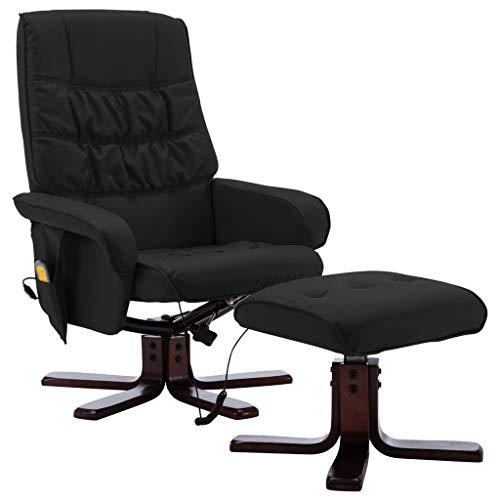 vidaXL Poltrona Massaggiante Reclinabile e Poggiapiedi Poltroncina per Massaggi Divano Singolo Massaggiatore Sedia Arredamento Nera Similpelle