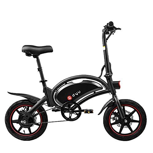 DYU Vélo électrique Pliant pour Adultes, D3F 14' Vitesse Réglable Urban Bike, 250W Moteur Vitesse 25 km/h, 50km la Longue Portée, 36V 10Ah Batterie, Siège réglable, City E-Bike