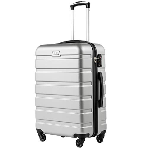 COOLIFE Hartschalen-Koffer Trolley Rollkoffer Reisekoffer mit TSA-Schloss und 4 Rollen(Silber, Großer Koffer)