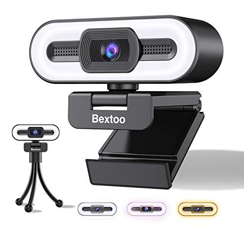 Bextoo Webcam 1080P, Webcam per PC con Luce ad Anello a 3 Colori e Microfono Stereo, per Streaming, Autofocus, Plug and Play, Adatta per Corsi Online, Riunioni, Videochiamate e Giochi