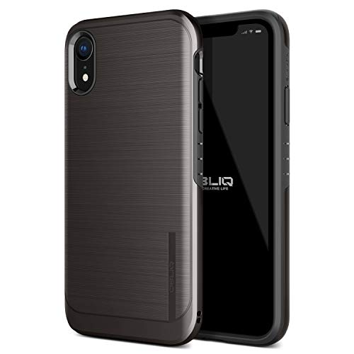 OBLIQ iPhone XR Case, [Slim Meta] Slim Dual Layered Case, Inner TPU with Outer PC with a Metallic Brushed Finish Design and Anti-Shock Technology for The Apple iPhone XR (2018) (Titanium Black)