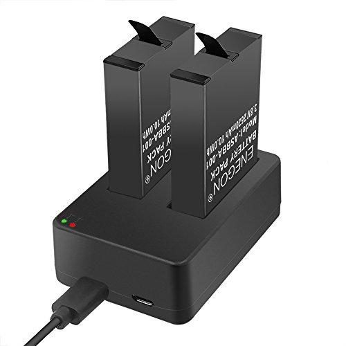 Batterie ENEGON (2 pezzi) per Gopro Fusion e caricabatterie doppio con ingressi Micro USB e tipo C per Gopro Fusion Sport fotocamera da 360 gradi ASBBA-001 (compatibile al 100% con l'originale)
