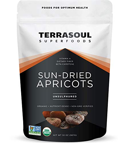 Terrasoul Superfoods Sun-Dried Apricots Unsulphured (Organic), 2 Pound (Pack of 1)