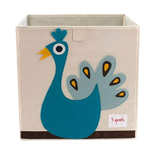 3 Sprouts Cube Storage Box - Organizer Container for Kids & Toddlers, Peacock