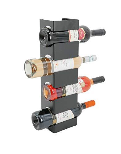TradeNX Portabottiglie di Vino da Parete in Acciaio, Scaffale Verticale per 4 Bottiglie di Vino, Grappa, Rum e Bottiglie fino a 80 mm di Diametro, Design Moderno, Colore Nero