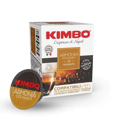 Kimbo Capsule di Caffè - Compatibili Lavazza a Modo Mio - Armonia 100% Arabica (8 Confezioni da 10 Capsule, Totale 80 Capsule)