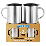 Stainless Steel Coffee Mug with Lid, Set of 2  14 oz Premium Double Wall Insulated Travel Cup, Metal Mug with Handle  Shatterproof, BPA Free, Dishwasher Safe, Tea, Beer