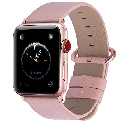 Fullmosa Correa Compatible Apple Watch 44mm 42mm 40mm 38mm, YAN 15 Colores Correa Cuero Pulsera para iWatch Series 5 4 3 2 1, Rosa + Hebilla de Rosa + Adaptador Rosa 38mm 40mm