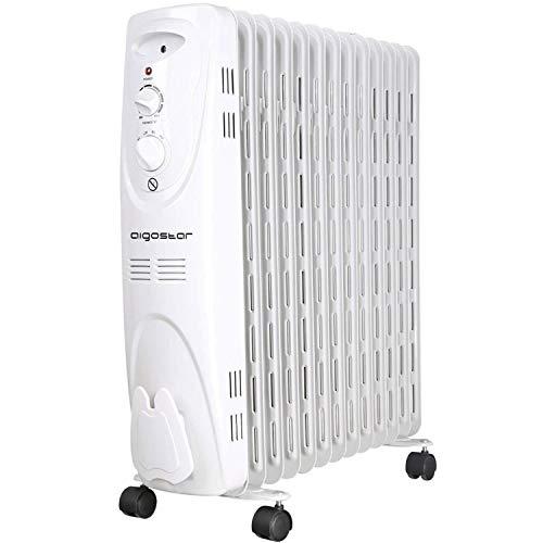 Aigostar Warm Snow 33JHF – Radiateur à bain d'huile portable. 13 éléments, 2500 W. 3 niveaux de puissance et thermostat réglable. Couleur blanc. Design exclusif.