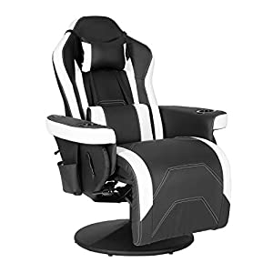 【Recliner with Massage Function】 Our massage gaming chair with 2 massage spots on lumbar that can help to relax your body and waist muscles. In addition, this massage chair features 6 massage modes, as well as adjustable massage strength and position...