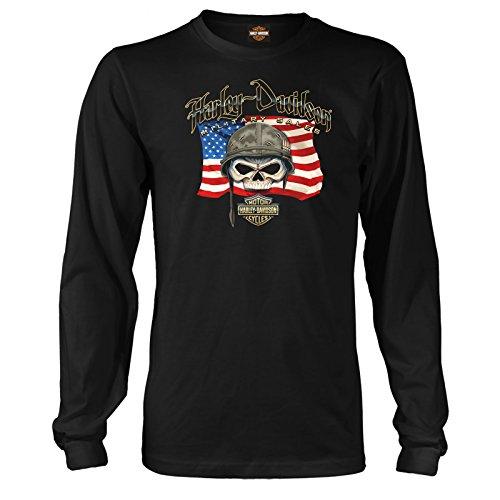 ハーレーダビッドソン ミリタリー - メンズ 愛国的なスカルグラフィック長袖Tシャツ - ウィリーGフラッグ   海外ツアー US サイズ: Medium カラー: ブラック