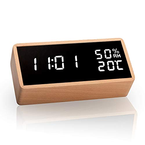 Meross LED Wecker digitaler Wecker, Tischuhr mit Sprachsteuerung, Datum, Temperatur und Luftfeuchtigkeit, für Zuhause, Schlafzimmer, Kinderzimmer und Büro