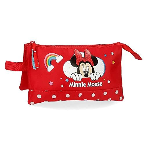 Disney Estuche Minnie Rainbow Tres Compartimentos, Rojo, 22x12x5 cm