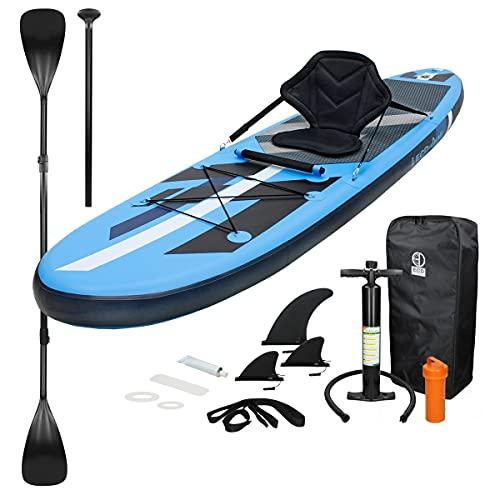 ECD Germany Stand Up Paddle Gonflable Kayak Sup | 305 x 78 x 15 cm | jusqu'à 120kg | PVC | Bleu | Surf Board Planche de Surf avec Pagaie Sac de Transport Pompe à Air Accessoire | Paddling Surfing
