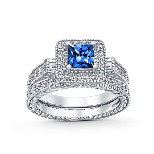 Bling Jewelry Princesa Cuadrados Corte Halo AAA CZ Simulado Compromiso Zafiro Juego Juego Anillo Bodas Plata Esterlina 925 Mujer